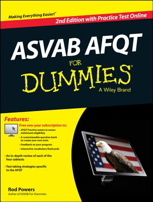 ASVAB AFQT for Dummies By Consumer Dummies (COR)